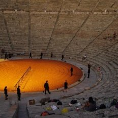 Rehearsing Alcestis, Epidaurus Ancient Theater 2009